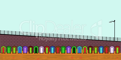 Empty Beach Huts.