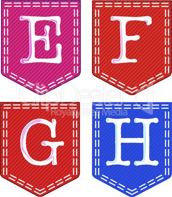 Letters E, F, G, H,