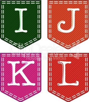 Four letters, I, j, K, L.