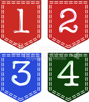 Four Fabric Numbers, 1, 2, 3, 4,
