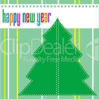 Merry christmas and happy new year tree on green background
