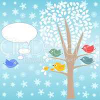 template of christmas card for xmas design with birds