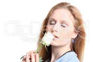 Attraktive Frau mit Rose