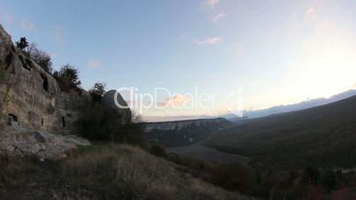 sunrise in the mountains. Cave city Eski-Kermen, Crimea, Ukraine VI-XIV centuries