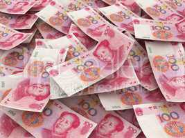 Chinese 100 Yuan bill face within pile of other 100 Yuan bills