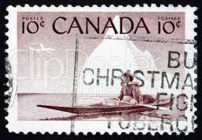 Postage stamp Canada 1955 Eskimo and Kayak