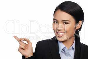 Asian businesswoman pointing