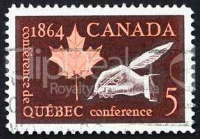 Postage stamp Canada 1964 Hand Holding Quill Pen