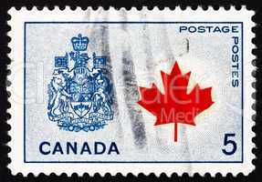 Postage stamp Canada 1966 Maple Leaf and Arms of Canada