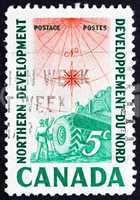 Postage stamp Canada 1961 Compass Rose, Earth Mover and Surveyor