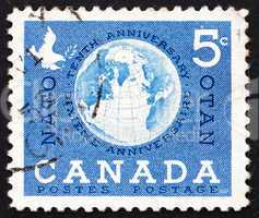 Postage stamp Canada 1959 Globe and Dove
