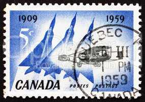 Postage stamp Canada 1959 Silver Dart and Delta Wing Planes
