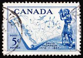 Postage stamp Canada 1957 David Thompson, Map of Western Canada