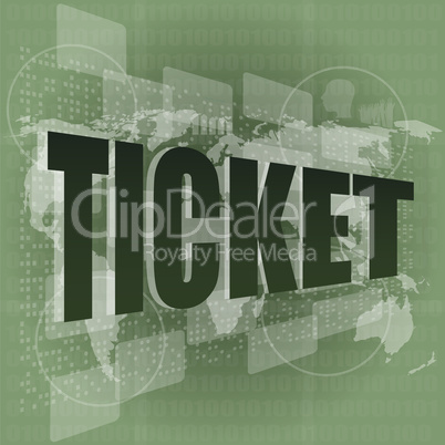 Life style concept: pixelated words ticket on digital screen