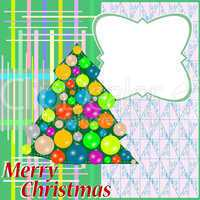 greeting with christmas tree on abstract background