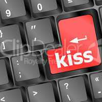 kiss red button word on black keyboard