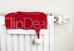 Christmas hat and radiator