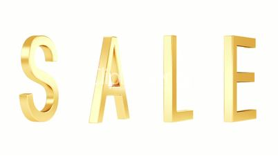 Sale. Gold text animation