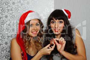 Girlfriends at christmas party