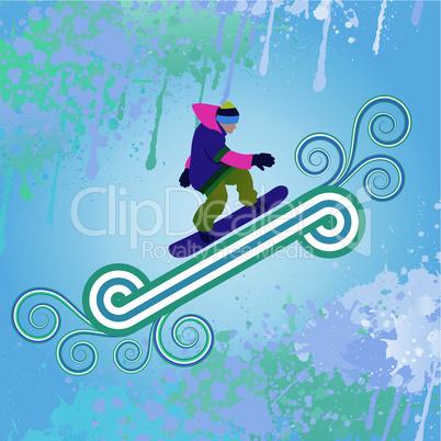 Snowboarder jumping through air
