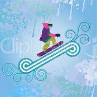 Snowboarder jumping through air, vector illustration