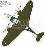 PZL P-37B WW2 Combat Plane