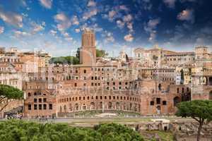 Ancient Ruins of Imperial Forum in Rome, via dei Fori Imperiali