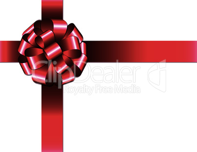 Shiny red ribbon with bow on white background