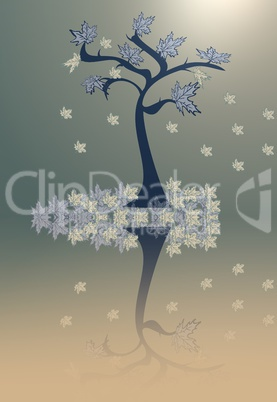 Abstraction  tree with leaves  on a yellow-grey background