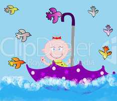 Little merry child in an umbrella on water with birdies