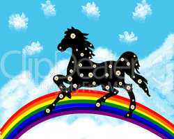 Black horse in camomiles on a rainbow on a background snow mountains