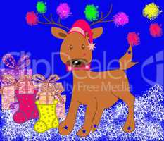 Christmas merry deer with gifts and banger