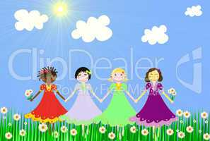 The girls of different races on a green meadow