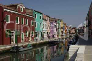 the canals in Burano an island near Venice Italy