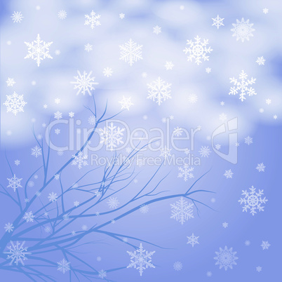 vector snow branches with snowflakes
