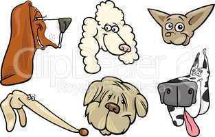 Cartoon dogs heads set