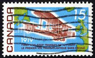 Postage stamp Canada 1969 Vickers Vimy, 1919, Map of Atlantic