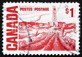 Postage stamp Canada 1967 Oilfield near Edmonton, Painting by Gl