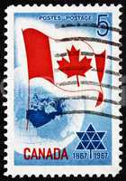 Postage stamp Canada 1967 Canadian Flag over Globe