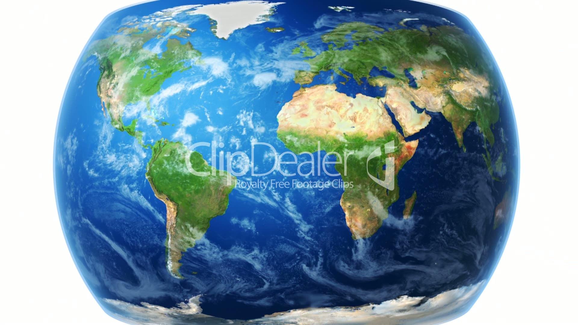 Realistic World Map Wraps To Globe White Bg Royalty Free Video