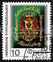 Postage stamp GDR 1990 Coat of Arms of Schwarzburg-Rudolstadt