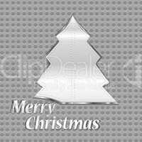 abstract silver metal christmas tree on background