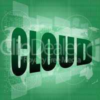 Information technology concept: words Cloud on digital screen
