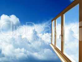 window frame in perspective on blue sky
