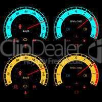 Set of car speedometers for racing design.