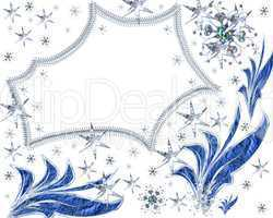 Festive scope from stars with snowflakes on a white background