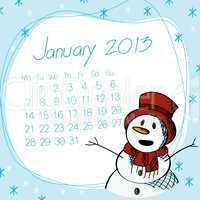 January 2013 snow man calendar