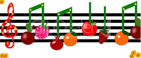 Fruit as notes on a musical figure