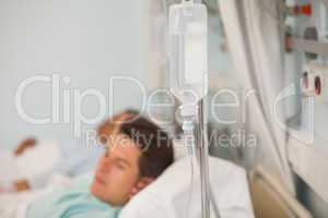 Focus shot on an intravenous drip and stand