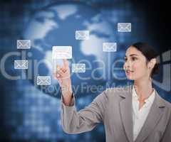 Businesswoman pointing on envelope